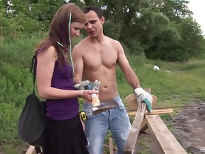 Longing haired redhead Alexis Crystal loves riding cock outdoors