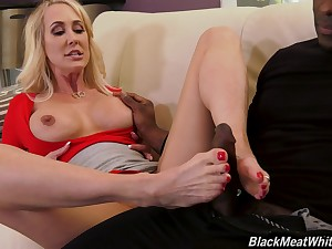 Playful blonde MILF bombshell loves playing with a huge dismal dick
