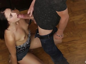 Tiny tits sweetheart sucks his broad in the beam cock sloppily