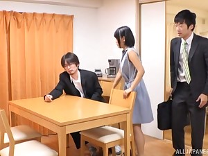 Amateur Japanese babe pounded unaffected by the kitchenette table
