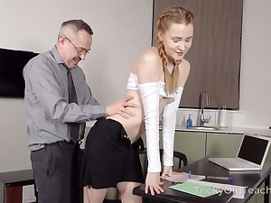 Anent reform her grades hot coed rubble up sucking her teacher's cock
