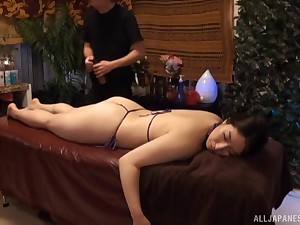 Oiled and horny girl is available for massage and hard coition after that