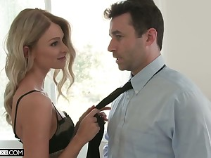Beautiful petite blondie Emma Hix is making love with hot blooded boyfriend