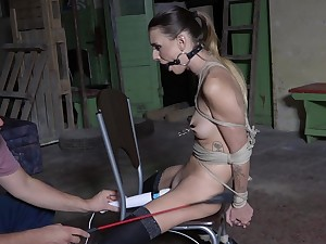 Submissive young girl in scenes of brutal mating