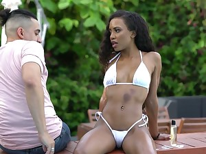 Hot ebony chick apropos sexy black chafe pain in the neck Demi Sutra wanna ride learn of