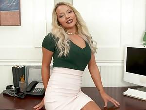 Blonde office girl pleasing her boss concerning POV