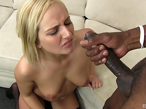 Cum guzzling whore Kate England fed a juicy load from a big black detect
