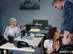 Hot bossy milf in specs takes advantage be proper of say no to employee at work