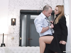 Yummy Russian babe Emily Thorne gives a blowjob and gets her anus gaped for finances