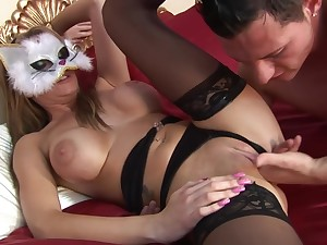 Covered Blonde Takes A Load On The brush Big Tits