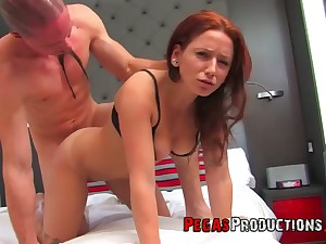 Meaty cunt of too energized redhead Lily Fatale is stretched missionary