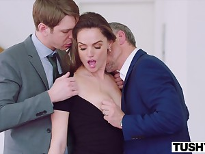 Two suited guys encircling gigantic dicks DPed cute babe Tori Black