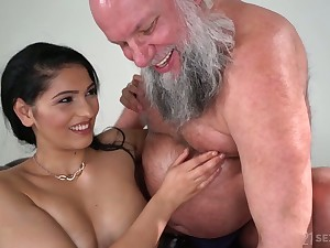 Buxom added to sexy beauty Ava Black rides older man's dauntless cock on top