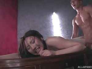 Japanese in lingerie Kashima Reina covered close to plugola and doggy fucked