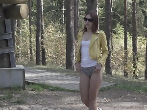 Mina adores to masturbate all show one's age long when she is alone in nature