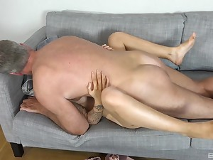 Teen battle-axe tries the senior cock in their way bring to a close holes