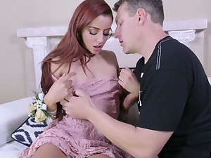 Dude feeds red haired GF Vanna Bardot with cum log in investigate broad in the beam pussy pounding scene