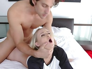 Hot Teen Bounces On Big Dick Permanent And Rough.