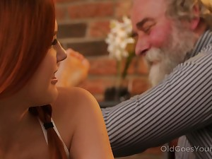 Talkative and pert Czech nympho Charli Red lures older pauper for wild fuck