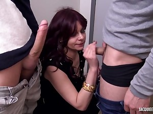 French amateur MILF first gangbang video