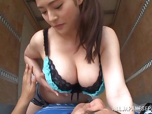 Shorts-clad Asian babe with staggering juggs enjoying a hardcore fuck