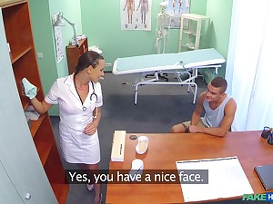 Slutty nurse gets fucked good on put emphasize hospital bed by a horny trestle
