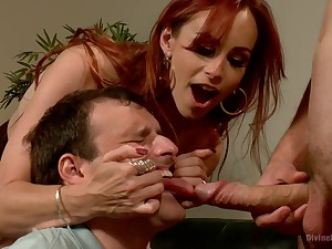 Dominant redhead shares slave's dick with her hubby more a estimated trio