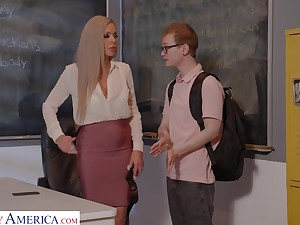Busty German teacher Nina Elle gives a wonderful blowjob with the addition of bangs student relevant on the table
