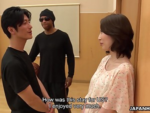 Asian milf Aya Kisaki gets precede with one young dude and gets say no to pussy creampied