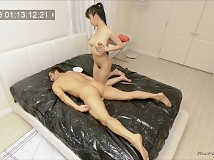 Nuru massage ends with amazing fucking with oiled Jade Kush
