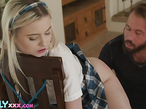 Adult stepdaughter Aria Banks is promised and fucked by horny stepdad