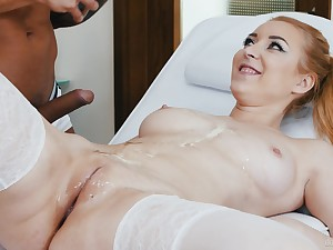 Interracial fucking on eradicate affect bed with cock hungry redhead Amaris